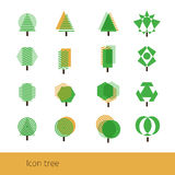 Vector Icon Tree Yellow. Vector set tree. Geometric tree. Vector green tree. Abstract color  tree Stock Photography