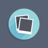 Vector icon of two instant photo frames in flat. Style with long shadow Stock Photos