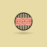 Vector icon two slices bacon on barbecue grill, bacon bbq fried, pork meat. Vector icon two slices bacon on barbecue grill. Illustration bacon fried on grill bbq Royalty Free Stock Photography