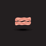 Vector icon two slices pork bacon. Illustration bacon. On black background. Illustration pork meat Royalty Free Stock Images
