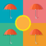 Vector icon umbrella in summer. Vector umbrella icon in summer Stock Photos