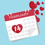 Valentines day calendar. Vector icon vector. 14th of February. Vector icon vector. 14th of February, heart. Valentines day calendar Stock Photos
