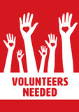Vector icon of volunteers needed. Against red background Stock Images