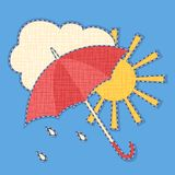 Vector icon of weather with fabric effect Royalty Free Stock Image