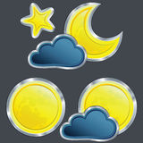 Vector Icon weather night with moon and star Royalty Free Stock Photo