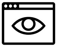 Private browsing off icon. Vector icon of web browser with eye inside Stock Images
