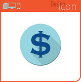 Vector icon on white background. Designer trend. Dollar currency Icon, money. Currency exchange. For use on the Web site or applic Royalty Free Stock Photography
