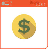 Vector icon on white background. Designer trend. Dollar currency Icon, money. Currency exchange. For use on the Web site or applic Royalty Free Stock Image