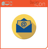 Vector icon on white background. Designer trend. Email icon new mail. Button for communication. Royalty Free Stock Images