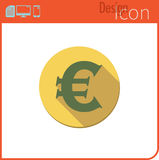 Vector icon on white background. Designer trend. Euro currency icon, . For use on the Web site or app. Royalty Free Stock Image