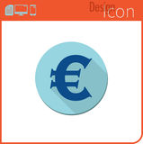 Vector icon on white background. Designer trend. Euro currency icon, . For use on the Web site or app. Royalty Free Stock Images