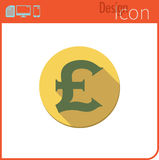 Vector icon on white background. Designer trend. Pounds, icon, currency, money. For use on the Web site or application. Royalty Free Stock Photos