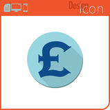 Vector icon on white background. Designer trend. Pounds, icon, currency, money. For use on the Web site or application. Stock Image