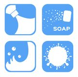 Vector icon : White moisturizer and collagen Foam Cream Mousse Soap bubble and Lotion. / blue Stock Images