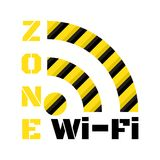 Vector icon wi-fi from the black and yellow stripes and inscriptions zone wi-fi.  Royalty Free Stock Images