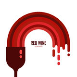 Vector icon of wine glass with red wine isolated. Flowing liquid. Flat style. Alcohol illustration. Celebration element design Stock Photography