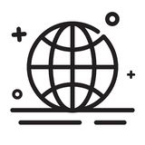 Vector icon. Worldwide, Globe, Browser icons. Modern outline icons for any purposes. Suitable for finance, Internet theme royalty free illustration