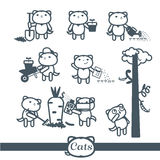 Cats Vector icons. 8 Symbols Set: gardening Stock Photo