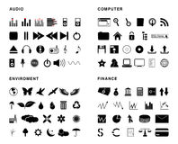 Vector icons. Four  thematic package, 90 Stock Image