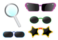 Vector icons. Loupe and sun glasses isolated on white Royalty Free Stock Photo