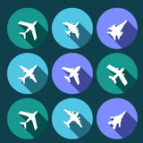 Vector icons of airplanes Royalty Free Stock Image
