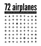 72 vector icons of airplanes. 72 airplanes. Vector  icons on white background Stock Photo