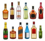 Vector icons of alcohol drinks bottles Royalty Free Stock Images