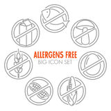 Vector icons for allergens free products. Vector icons set for allergens free products (milk fish egg gluten wheat nut lactose corn mushroom Royalty Free Stock Images