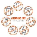 Vector icons for allergens free products Stock Image