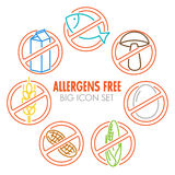 Vector icons for allergens free products. Vector icons set for allergens free products (milk, fish, egg, gluten, wheat, nut, lactose, corn, mushroom) - color Stock Photos
