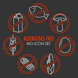 Vector icons for allergens free products Royalty Free Stock Photography