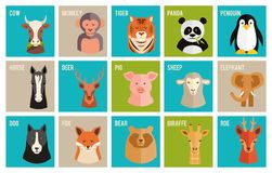 Vector icons of animals and pets in flat style stock illustration