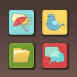 Vector icons for apps in textile style Royalty Free Stock Photo