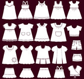 Vector icons of baby clothes for girls. Baby clothes icons. Set of children`s clothing for girls. Vector illustration Royalty Free Stock Images