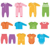 Vector icons of baby clothes. Stock Image