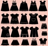 Vector icons of baby summer clothes for girls. Icon set children's summer clothes for girls. Collection of clothing on pink background. Vector illustration Royalty Free Stock Images