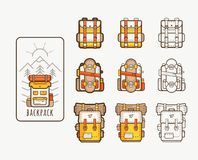 Vector icons with backpacks for hiking stock photography