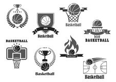 Vector icons of basketball championship club award Royalty Free Stock Photos