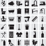 36 vector icons of a bathroom and a toilet. 36 black  vector icons of a bathroom and a toilet on a grey background Stock Photo