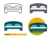 Vector icons of the bed. Stock Photography