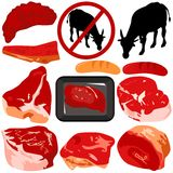 Vector Icons : Beef, Pork, Sausage Stock Photo