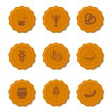 Vector icons of beer caps. With symbols attributes Oktoberfest in retro style Royalty Free Stock Photography