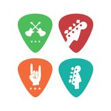 Music icons isolated plectrum shape. Vector icons best for musical instruments shop, music blog. Ready for web and press Stock Photos
