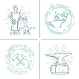 Vector icons blacksmith. Vector icons on the theme of the blacksmith forge, anvil, hammer on an isolated background. Abstract emblem set for smithing Stock Photography