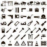 Vector icons of building tools and building. 50 black icons vector stoitelnoy equipment, signs and Instrument on white background Royalty Free Stock Photos