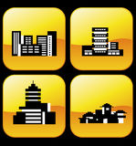 Vector icons of buildings Stock Photography