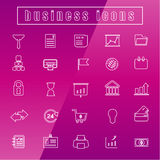 Vector icons Business office equipment Thin Line white Stock Image