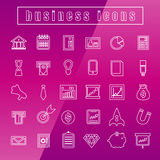 Vector icons Business Thin Line white. Vector set icons Business Thin Line white Stock Image