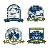 Vector icons for camping site outdoor adventure vector illustration