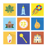 Vector icons of capital of Ukraine Royalty Free Stock Images